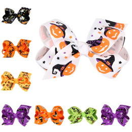 boutique di fiori Sconti Hallowmas Flower pumpkin hairbows Barrettes girls hairclip Boutique Bowknot Forcine per capelli accessori per capelli regalo GB070