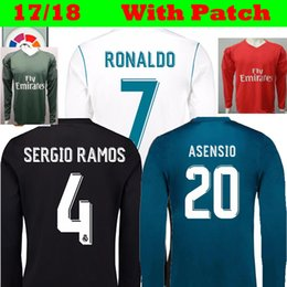 Wholesale Real Football Jerseys - Long Full 2017 2018 Real Madrid MODRIC RONALDO Soccer Jerseys 17 18 Football Shirts Black Blue KROOS ISCO Bale ASENSIO Goalkeeper Camisetas