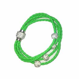 Wholesale Circle Rhinestone Buckles - Hot selling unisex leather bracelets Multilayer braided PU leather bracelets Shambhala magnet buckle bracelets free shipping