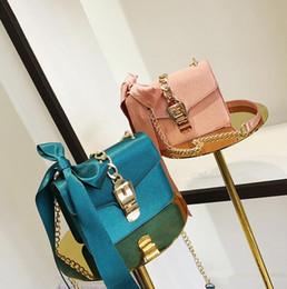 Wholesale Korean Chain Bag - factory Brand handbag Korean version of the new lock silk chain bag fashion bow Satin woman single shoulder bag solid lock Satin Satchel
