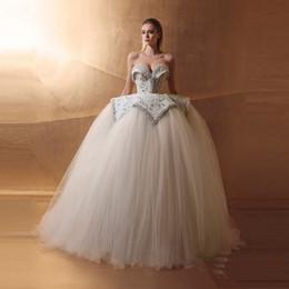Wholesale Luxury Puffy Train Pleated Wedding Dress - Luxury Puffy Tulle 2017 Pearls Wedding Dresses Sweetheart Dubai Wedding Gowns Off The Shoulder Lace Up Arabic Vestido De Noiva Bridal Dress