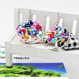 2020 brincos chakra Mulheres arco-íris 7 chakra ametista árvore da vida pingente brincos multicolor sabedoria árvore de pedra natural oscilar lustre brinco jóias finas brincos chakra barato
