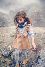 Wholesale Girls Knit Dresses Wholesale - New Autumn Baby Girls Knit Ruffles Dresses Kids Girls Fashion preppy Style Suspender Dress 2017 childrens clothing