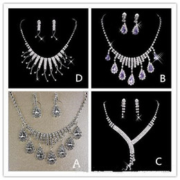 Wholesale Round Rhinestone Clasps - 2017 Hot In Stock many style Free Shipping Wedding Jewelry Sets Silver Plated Necklace Earrings Sets Rhinestone Wedding Accessories luxury
