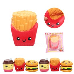 Wholesale Kawaii Cake - 2017 New High Quality kawaii cute Jumbo 12CM french fries Soft Scented Bread Cake squishy Slow Rising Elasticity Stretch Kid toy