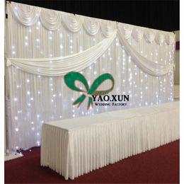 Wholesale Led Curtain Wedding Backdrop - 10ft*20ft Wedding Backdrop Curtain\ Stage Background Drape With The Led Lights