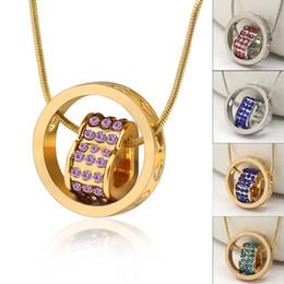Wholesale 3d Slides - 18K Gold Loving Heart Necklace 3D Elegant Austrian Crystal Rhinestone Eternal Love Silver Necklaces Love Engraved Chain