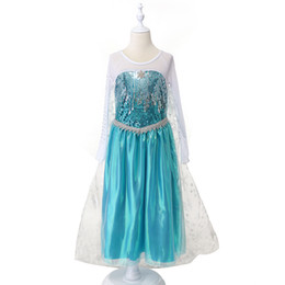 Wholesale Blue Party Dresses Free Shipping - Exclusive dresses frozen elsa sequined dress blue elsa snowflake princess long cape dress for birthday party free fast shipping