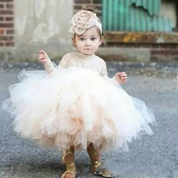 Wholesale Tea Length Puffy Dress Lace - 2018 Cute Toddler Puffy Ball Gown Flower Girl Dresses Lace Top Bodice Long Sleeves Tulle Ivory TuTu First Communion Dresses