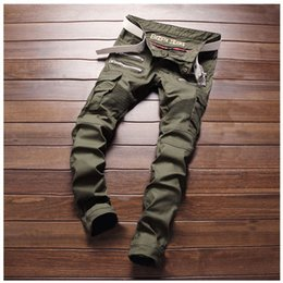 Wholesale Jeans Pocket Pattern - Wholesale-Army Green Zipper Designer Pants Men's Slim Patchwork Biker Skinny Jeans New Fashion Pencil Pants Double Side Pockets 28-38