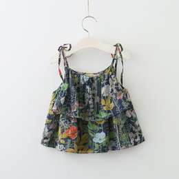 Wholesale Girls Top Bows - Everweekend Girls Ruffles Floral Print Bow Tees Cute Baby Western Fashion Summer Tops