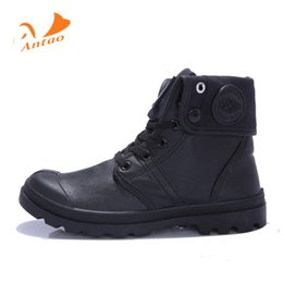 Wholesale Ankle Boots Comfortable - Wholesale-Women Canvas Casual Ankle Boots Lace-Up Waterproof high Shoes Leather Comfortable Women Short Boots