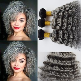 Wholesale Curly Two Tone Hair Extensions - Ombre Color #1B Grey Deep Wave Curly Malaysian 9A Human Hair Bundles 3Pcs Lot Two Tone Dark Root Sliver Grey Human Hair Extension