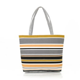 Wholesale Tote Bags Stripped - Wholesale-Summer Style Vintage Canvas Bag Women Shoulder Bags Ladies Beach Bags Strip Tote Shopping Purse Handbag Bolsa Feminina 9 Colors