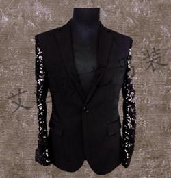 Wholesale Dance Sequins For Dresses - Fashion men suits designs homme terno stage costumes for singers men sequin blazer dance clothes jacket style dress punk rock splice black