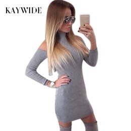 Kaywide Nuovo arrivo Costina inverno vestito da donna dolcevita al largo  della spalla abiti sexy manica completa elegante vestito aderente maglione  q171120 ... ce7bc2b7270