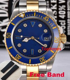 Bande d'eau en Ligne-Diamant Mens lunette en céramique Montres Bracelet en acier Sports Master montre-bracelet reloj rôle montre résistant à l'eau lumineux marque de luxe gratuit bande