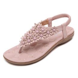 Wholesale T Strap Bohemian Sandals - New summer fashion flower rivets Boho Bohemian women flat sandals shoes woman casual flip flop beach sandals
