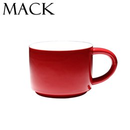 Wholesale China Wholesale Germany - Wholesale- Germany Style Red Ceramic Personality Mug with Spoon Milk Cup Office Coffee Tumbler Breakfast Mugs Classic Cafe Cups MCC021