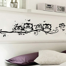 Wholesale Texture Pvc - Creative Cartoon Black Owl Wall Sticker decorate Stickers Butterfly Decoration Stickers Muraux PVC Texture Of Material Hot Sell 2 8xp J R
