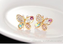 Wholesale Wholesale Butterfly Earrings - New Fashion Stud Earrings Gold Crystal Pearl Earrings Woman fully-jewelled Pearl eardrop Earing Hollow out Rhinestone multicolour butterfly