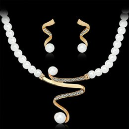 Wholesale Fashion South Africa - Fashion Gold Color Imitation Pearl Chain Necklace and Earrings Sets Women Wedding Africa Nigeria S-shaped Jewelry Sets