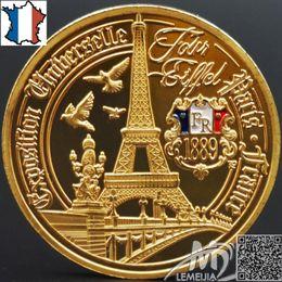 Wholesale Paris Souvenirs - France Eiffel Tower Commemorative Coins Golden Paris Wish Souvenir Coin Diameter 32mm Metal French Architecture Free Shipping