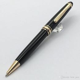 Wholesale Platinum Designs - Best pen luxury 164 Gold clip Platinum Line Classique Ballpoint Pen Best Design Pure Black gold-Clip Ballpoint Pen