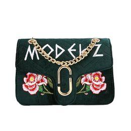 Wholesale Velvet Purse Black Party - Fashion Velour Bags Handbags Women Famous Brand Luxury Designer Embroidery Flower Bag Purse Ladies Chain Velvet Shoulder Bag Messenger Bags