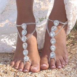 Wholesale Bridal Foot Jewelry - Boho Wedding Anklets Beach Wedding Foot Jewelry Barefoot Sandals Water Drop Crystal Bridal Anklets Gold Silver Bohemian Bridesmaid Gifts