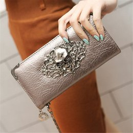 Wholesale Skull Ladies Purse - 2016 Hot Fashion Metal Skull Pattern PU Leather Long Wallets Women Wallets Portable Casual Lady Cash Purse Card Holder Gift