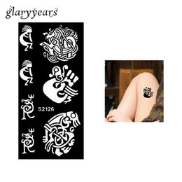 Wholesale Indian Stickers - Wholesale-Latest 1 Piece Body Art Airbrush Painting Stencil Sticker Small Horse Drawing Hollow Henna Indian Tattoo Stencil Temporary S2126