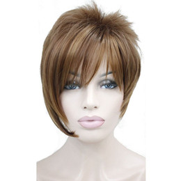 Wholesale wig bangs auburn - Light Auburn with Highlights Inclined Bangs Short Straight Synthetic Hair Wig For Girl