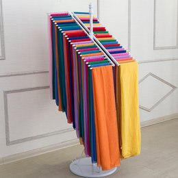 Wholesale Display Rows - Wrought Iron Clothing Store Double Row Scarf Wearing Scarves Display Console Coat Rack Hang Scarf Shelves ZA4833