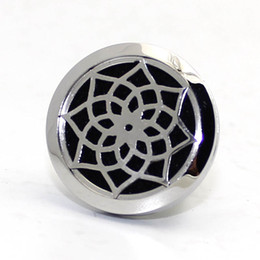 Wholesale Glass Aroma Diffuser - Silver (30mm) Magnet 316 Stainless Steel Car Aroma Locket Free Pads Essential Oil Car Diffuser Lockets