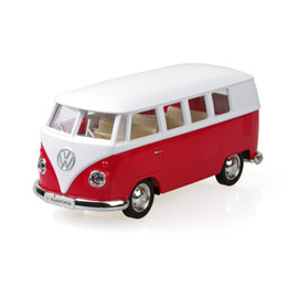 Wholesale Diecast Buses - UNI-FORTUNE VW T1 Kombi Transporter Microbus Red 1 36 alloy model car Diecast Metal Pull Back Car Toy For Gift Collection