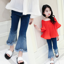 Wholesale Color Ripped Leggings - Fashion Girl Flared trousers Denim Children Jeans Ripped tassels Kids boot cut pants Sale Leggings Jeans Children Clothes Girls ClothesA632