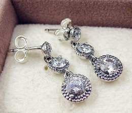 Wholesale European Earrings Silver 925 - High-quality Fashion Jewelry 100% 925 Sterling Silver European Pandora Charm Jewelry Eternal Elegance with Clear CZ Hoop Earrings