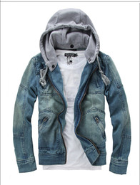 Wholesale Vintage Jean Jackets - Fashion Men Denim Jackets Winter Long Sleeve With Removable Hat Washed Vintage Man Jean Coats Men's Outwears Plus Size M-5XL