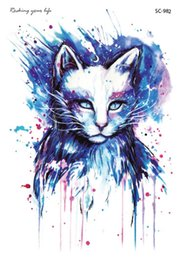 Wholesale Eyes Tattoo - Wholesale- Green tattoo stickers colorful cartoon cat dazzle tattoo tattoo stickers manufacturers selling SC2982