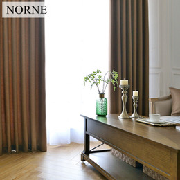 Wholesale Norne Solid Color Faux Linen Blackout Curtains for Living Room Modern Curtains for Bedroom Window Curtains kitchen Door curtain Blinds