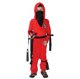 Wholesale Ninja Clothing - Shanghai Story Super handsome red ninja warrior costumes, Halloween party costume game performance clothing for kids