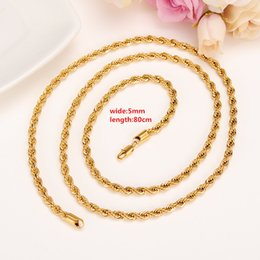 """Wholesale Chunky Yellow Jewelry - 31"""" Big Chunky Long Hip Hop Yellow Gold Chain Twist Rope Necklace Men Jewelry 18K Gold Gun Filled Brass African Ethiopian Lengthening"""