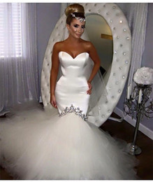 Wholesale White Wedding Gown Train Crystals - 2016 Sexy Mermaid Wedding Dress Sweetheart Tulle Satin Vestido De Noiva Robe De Mariage Mermaid Wedding Dresses Bridal Gowns