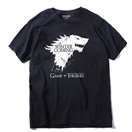 Wholesale Game Thrones T Shirts - Stark cotton short sleeve Game of Thrones Men T-shirt casual men tshirt Tops Tees WINTER IS COMING MEN T shirt