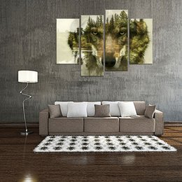 Wholesale Animal Paintings - 4 Pieces Wolf Canvas Prints Wall Art Picture for Home Decor Wolf Pine Trees Forest Animal Paintings Print Modern Artwork with Wooden Framed