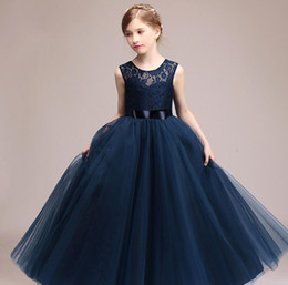 Wholesale Dresses For Teenagers - Kids Girls Wedding Flower Girl Dress Princess Party Pageant Formal Dress Sleeveless Long Dress for Teenager Girl 5-14 Years Wear