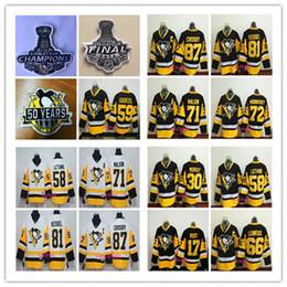 Wholesale Orange Ice Hockey Jerseys - 2017 Pittsburgh Penguins 14 kunitz 58 Letang 59 Jake Guentzel 87 Crosby 81 Kessel 71 Malkin 72 Hornqvist Black white Hockey jerseys