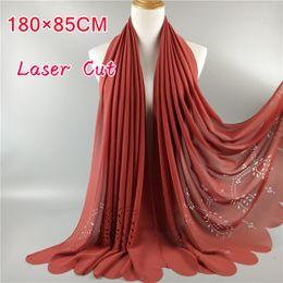 Wholesale Big Red Laser - Wholesale- Popular Big Size High Quality laser cut hollow plain bubble chiffon scarf muslim hijab headband women spring wrap shawl scarvres