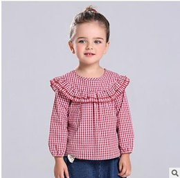 Wholesale Vintage Pink Blouse Collar - Baby girls princess plaid blouses kids falbala lapel long sleeve lattice tops fashion girls Vintage style shirt 2017 children clothes G0345